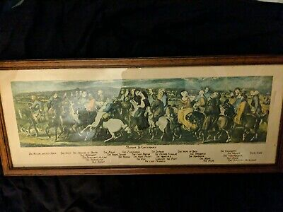 "Antique PILGRIMS TO CANTERBURY Mid-Victorian Thomas STOTHARD Framed Print 8""x21"""