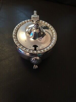 Vintage silver plate Mustard hinged pot with liner & decorative lions paw feet