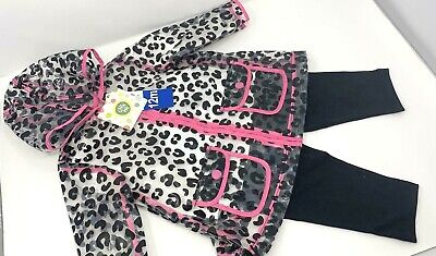 Little Me 3 Piece Set Rain Coat,Top & Leggings For Girls Kids 1, 2,3,4 Year