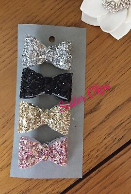 Girls Handmade 4 baby/toddler small black glitzy Glitter Hair Bow clips