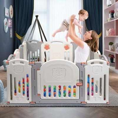 Large 14 Panel Foldable Kids Children Safety Enclosure Baby Playpen Safety Zone
