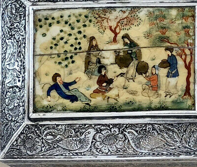 Antique Persian Engraved Silver Box Miniature Painting Turkish Ottoman