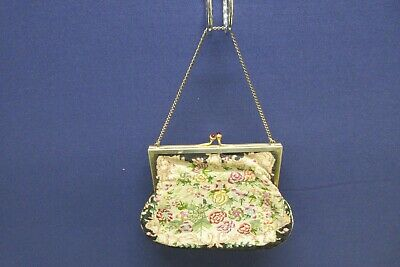 Antique Petit Point Purse Retro Floral Green Beige Red Black Satin Lined
