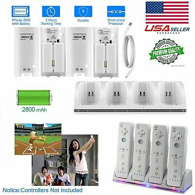 4x White Batteries Pack + Charger Dock Cradle For Nintendo Wii Remote Controller