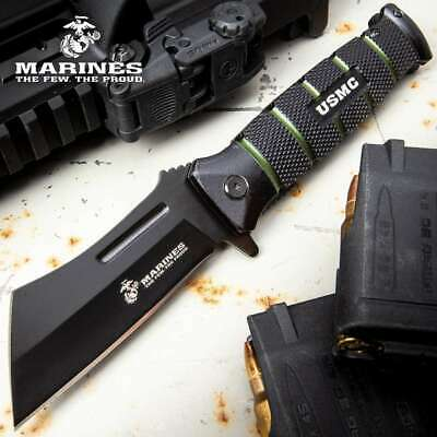 USMC Combat Cleaver Assisted Opening Pocket Knife SS Blade Textured Aluminium