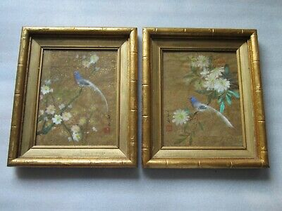 Pair Of Original Antique Chinese Hand Painted On Gold Leafed Paper Paintings