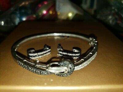 Sterling Silver & 925 SIGNED JW bracelet and matching earrings black twisted