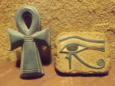 Egyptian Eye of Horus & Ankh Art sculpture relief. Protection & life symbol
