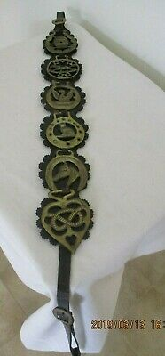 Vintage English Horse brasses x 6 on leather strap