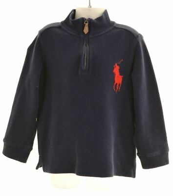 POLO RALPH LAUREN Boys Zip Neck Jumper Sweater 4-5 Years Blue Cotton  AW12