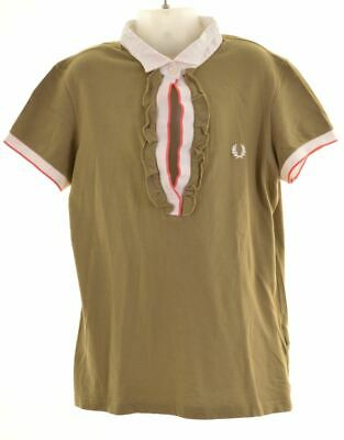 FRED PERRY Girls Polo Shirt 12-13 Years Small Khaki Cotton  AW21