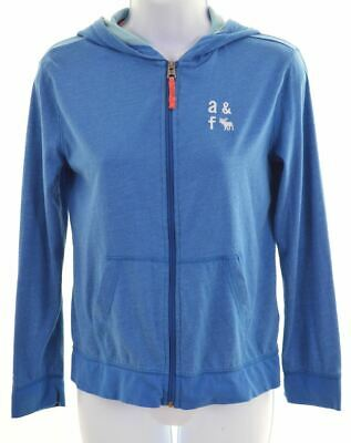 ABERCROMBIE & FITCH Girls Hoodie Sweater 11-12 Years Blue Cotton  BA01