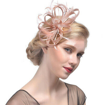 Ladies Womens Elegant Sinamay Flower Feather Headband Fascinator Hair Band INZ
