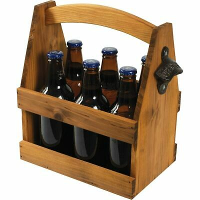 NEW AVANTI WOOD BEER CADDY Barbeque Tool Holder Carrier Handle Bottle Opener