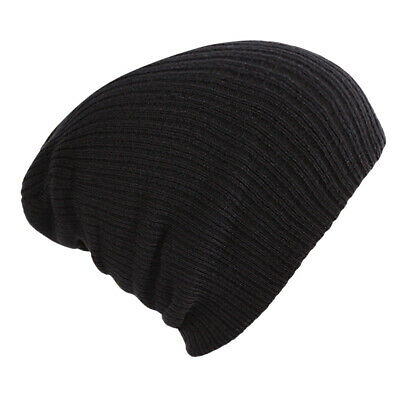 Black Beanie Hat Mens Ladies Slouch Winter Woolly Ski Knitted Turn Up Neon Warm