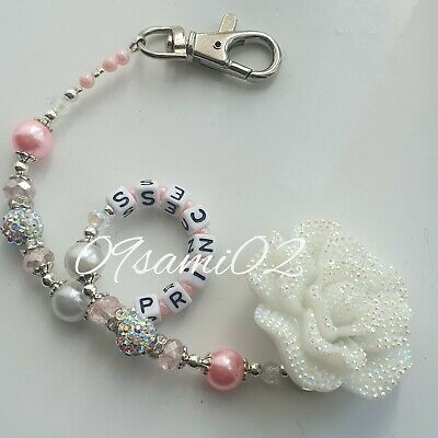 Personalised Baby girls❤ Bling Dummy Clip, glitter flower ❤romany❤