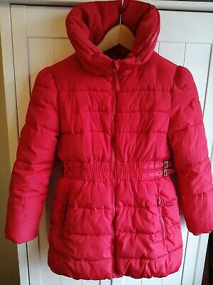 Girls Red Marks and Spencer Winter Coat With Zip And Hood Age 9-10 Years