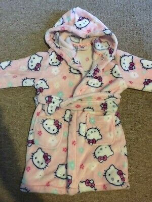 Girls dressing gown / robe - age 2-3 yrs - white with cat design/hello kitty