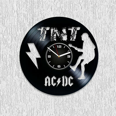 AC DC Wall Art Hard Rock Xmas Gift For Him Old School Vinyl Record Clock TNT Art