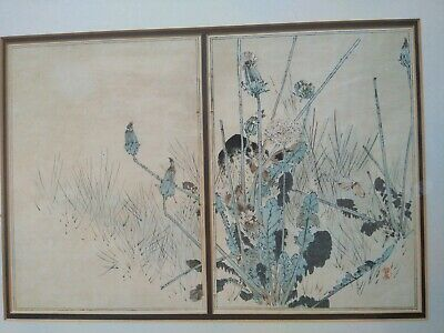 Antique Japanese Watercolour of a Crow Behind A Dandelion Plant. Framed and...