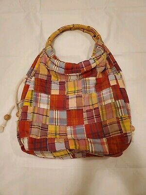 J Crew Purse Patchwork Bamboo Handles Hobo Tote Multi Color