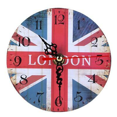 Vintage Wooden Wall Clock Large Shabby Chic Rustic Kitchen Home 4 Antique  L&6