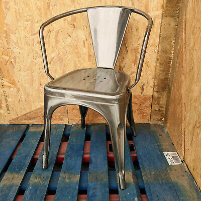 Tolix Brushed Steel Metal Arm Chair Stacking Retro Bistro Cafe Restaurant Silver
