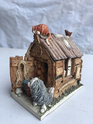 Australian Pottery Slab Hut Sculpture Vintage 1980s Signed Fagan - Dog Cat Bird