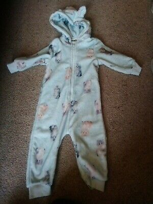 Next girls pale blue fluffy one piece with cats 2-3 years