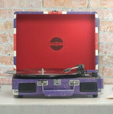 Zennox Briefcase Record Player USB Turntable Portable 3 Speed Vinyl Suitcase NEW