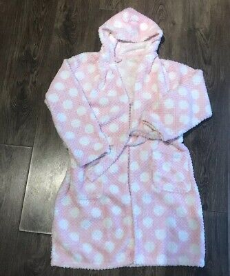 Girls Pink / White CHUNKY  DRESSING GOWN Age 10-11yrs
