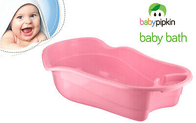 Pink Baby Bath Tub Large Deluxe Plastic Infants Newborn Kids Wash With Soap Tray
