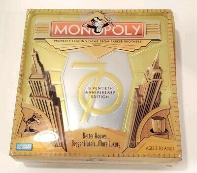 Monopoly 70th Seventieth Anniversary Edition Hasbro Board Game New Open Box