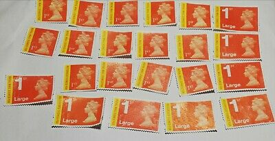 22 Royal Mail 1st Class Signed For stamps inc large Unfranked off paper no gum