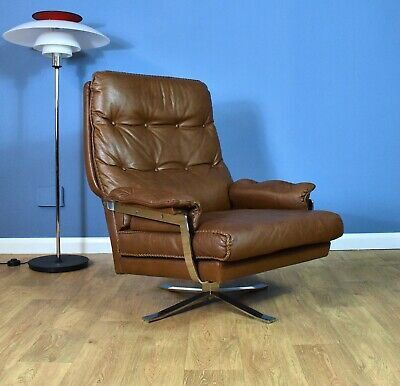 Mid Century Retro Swedish Brown Leather & Chrome Arne Norell Swivel Lounge Chair