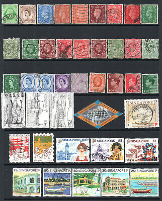 Commonwealth - Singapore - GB -  Selection X 42 Used Stamps To $10.