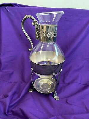 Vintage Silver Plate & Glass Coffee/Tea Pitcher with Footed Warmer Stand