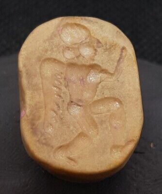 ANCIENT!! Egyptian Antique Stamp Beads With Roman Worrier With Wings Agate Stone