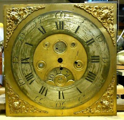 Antique long case clock heavy brass dial with sub dials.