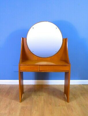 Mid Century Retro Vintage Danish Oak Two Drawer Dressing Table Swing Mirror 60s