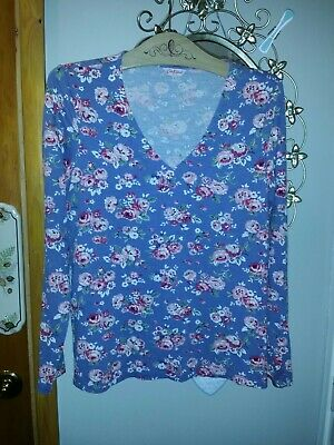 CUTE CATH KIDSTON LONG sleeved v neck top blue floral size small in vgc