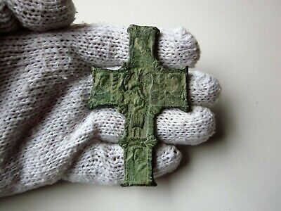 VERY RARE ancient late Roman or Byzantine bronze large double-sided cross.