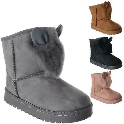 Girls Kids Childs Winter Warm Faux Fur Slip On Ear Snugg Ankle Boots Shoes Size