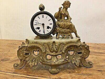 Victorian Gilt Metal & Marble Mantel Clock by Japy Freres 1855