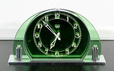 Art Deco Smith Sectric Green Glass & Chrome Mantle Shelf Clock Made in England