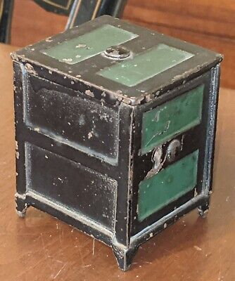 Antique American Still Bank Painted Cast Iron Safe Form