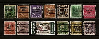 13 Connecticut mixed Precanceled Stamps.