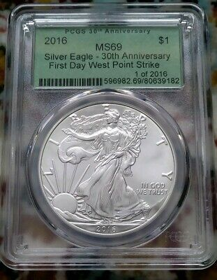 2016 Silver American Eagle 30th Ann. PCGS MS69 First Day WEST POINT CRACKED SLAB