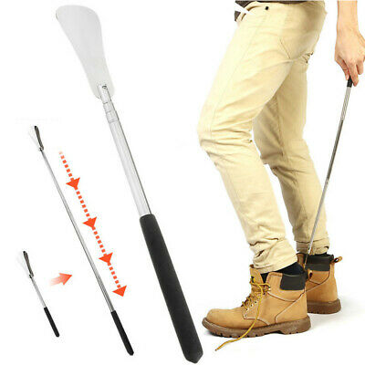 Telescopic Stainless Steel Long Handle Shoe Horn Portable Lifter Tools Shoehorn