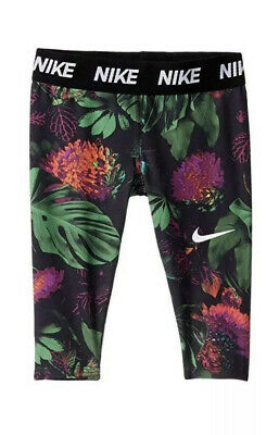 Nike Little Girls Botanical-Print Dri-fit Capri Leggings Size-6